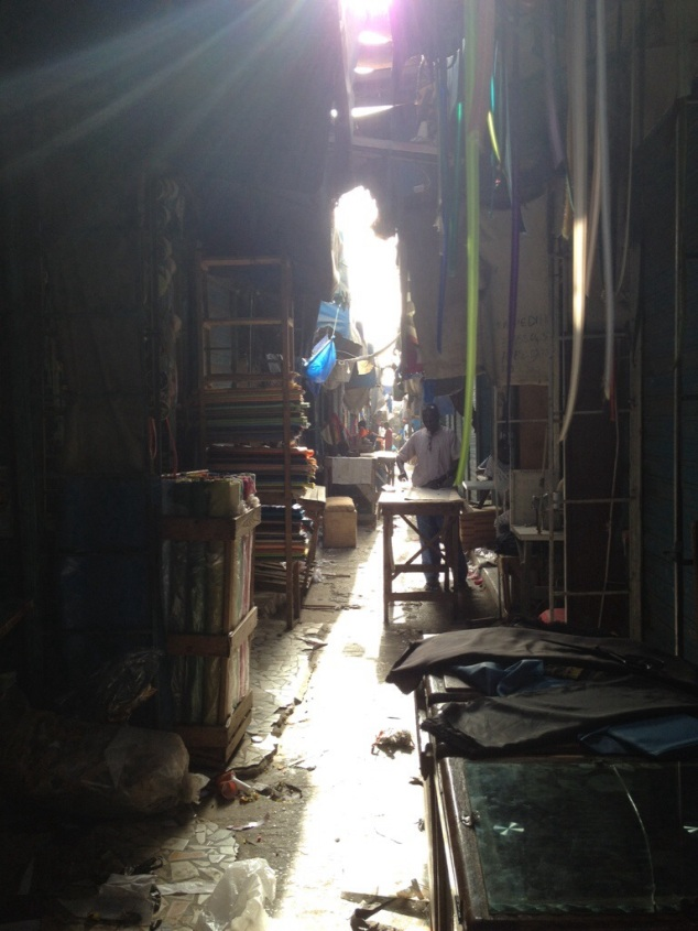 Inside the tailor section of the market in Dakar