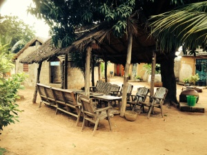 The lovely common area at Campement Siakadougou in Banfora.