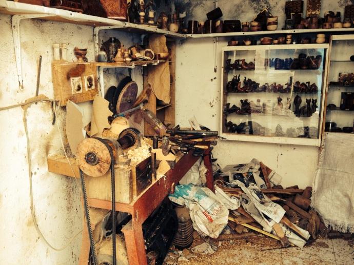 A woodwork shop in Essaouira, Maroc