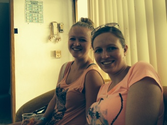 Getting our nails done before the wedding