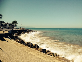"""Morning walk along the """"Malecon"""" boardwalk before moving to the resort."""