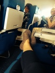 This flight was more than half empty. Pretty much everyone had their own row!