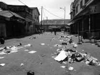 The deserted streets of Accra's Makola Market on a Sunday