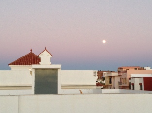 Not from today, but from a month ago in Asilah - the beautiful daylight moon of the Eid al Adha holiday